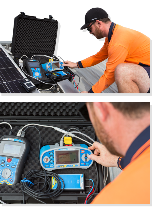 solar power panel testing on roof