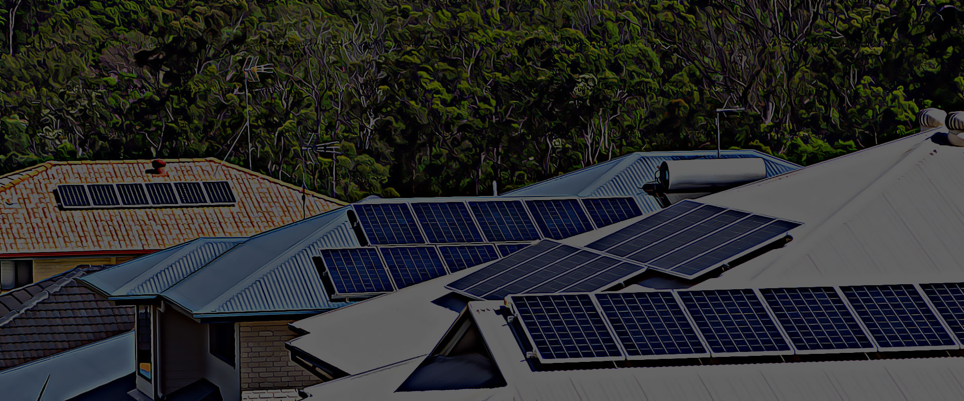 solar power rresidential roof tops and trees